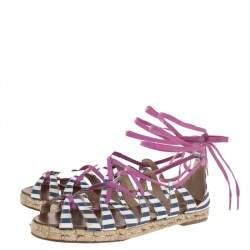 Christian Louboutin Multicolor Fabric Espadrille Ankle Wrap Flat Sandals Size 36
