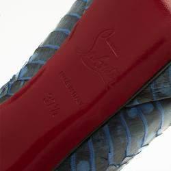 Christian Louboutin Blue Python Bianca Platform Pumps Size 37.5