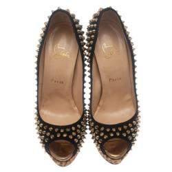 Christian Louboutin Black Suede Leopard Pony Hair Lady Peep Spikes Platform Pumps Size 39