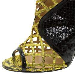 Christian Louboutin Black and Gold Python Bougliona Cage Ankle Boots Size 38.5