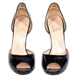 Christian Louboutin Black Patent Leather Madame Claude D'orsay Pumps Size 39