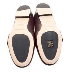 Christopher Kane Burgundy Leather Crystal Embellished Loafers Size 41