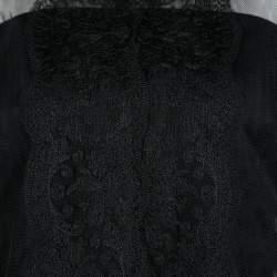 Christopher Kane Black Lace Trim Sheer Tulle Jacket M