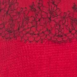 Christopher Kane Red Mohair Wool Blend Lace Applique Sweater L