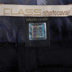 Class By Roberto Cavalli Navy Blue Dual Tone Cropped Pants M