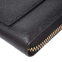 Coach Black Leather Accordion Zip Around Wallet