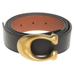 Coach Black/Brown Leather Signature Buckle Reversible Belt M