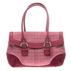 Coach Pink Canvas and Suede Satchel
