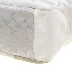 حقيبة يد كوتش شوبر باتشورك جلد وكانفاس فضية/ بيضاء