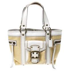 Coach Beige/White Straw and Leather Tote