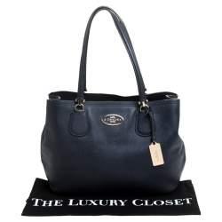 Coach Navy Blue Leather Kitt Carryall Satchel