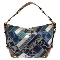 Coach Multicolor Patchwork Leather and Fabric Carly Hobo