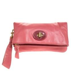 Coach Coral Pink Leather Foldover Wristlet