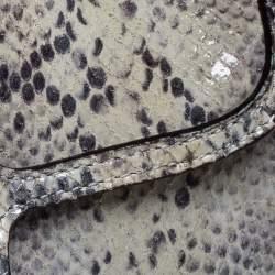 Coach Grey Embossed Python Flap Wrislet Clutch