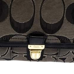 Coach Black/Grey Signature Canvas and Patent Leather Shoulder Bag