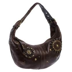 Coach Brown Leather Studded Embellished Hobo