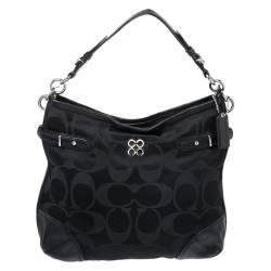 Coach Black Signature Canvas and Lizard Embossed Leather Colette Hobo