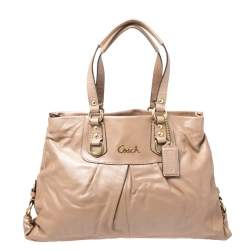 Coach Beige Leather Ashley Satchel