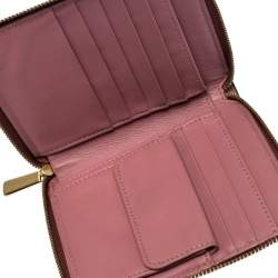 Coach Rose Pink Leather Small Zip Around Wallet
