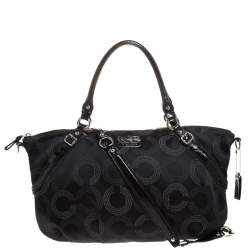Coach Black Signature Fabric Top Handle Bag