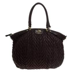 Coach Dark Brown Quilted Nylon and Leather 70th Anniversary Madison Satchel