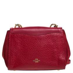 Coach Red Leather Turnlock Shoulder Bag