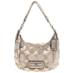 Coach Beige/Gold Canvas and Leather Kristin Hobo