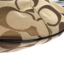 Coach Beige/Black Signature Canvas and Patent Leather Hobo