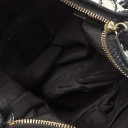 Coach Black/White Signature Canvas and Leather Tassel Hobo