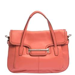 Coach Coral Orange Leather Taylor Marin Flap Satchel