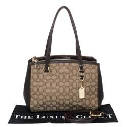 Coach Beige/Brown Canvass and Leather Etta Carryall Satchel