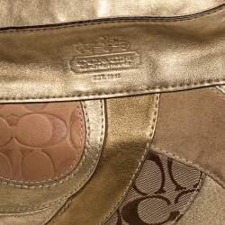 حقيبة هوبو كوتش جلد و كانفاس رقع مطبوع نقشة شعار الماركة بيج و ميتاليك