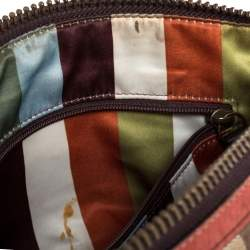 حقيبة هوبو كوتش جلد و كانفاس مطبوع نقشة شعار الماركة بيج و أحمر باهت