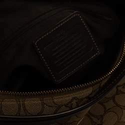 حقيبة هوبو كوتش كانفاس مطبوع نقشة شعار الماركة بني
