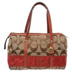 Coach Beige/Orange Signature Canvas and Leather Duffel Bag