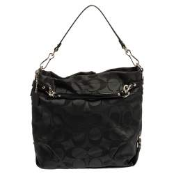 Coach Black Signature Fabric and Leather Large Brooke Hobo