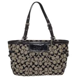Coach Black/White Signature Canvas and Leather East West Gallery Tote