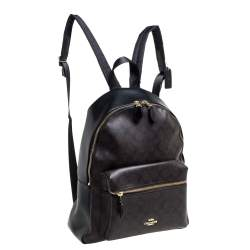 Coach Brown/Black Signature Coated Canvas and Leather Charlie Backpack