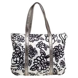 Coach Tri Color Floral Print Satin and Patent Leather Kyra Tote