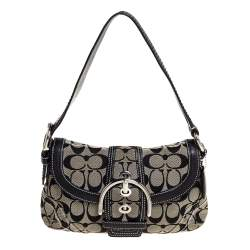 Coach Grey/Black Signature Canvas and Leather Shoulder Bag
