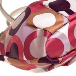 Coach Multicolor Op Art Satin and Leather Sophia Satchel