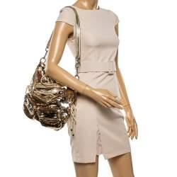 Coach Gold Sequin and Leather Spotlight Pocket Shoulder Bag