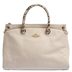 Coach White Leather and Snakeskin Effect Mia Satchel