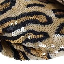 Coach Beige/Black Leopard Print Sequins Amanda Wristlet Clutch