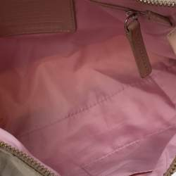Coach Beige/Pink Nylon and Leather Crossbody Bag