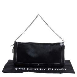 Coach Black Calfhair and Leather Flap Chain Clutch