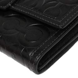 Coach Black Signature Embossed Leather Flap Wallet