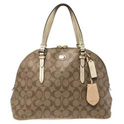 Coach Brown/Gold Signature Coated Canvas Jade Dome Satchel