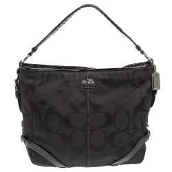 حقيبة هوبو كوتش كاتارينا جلد لامعة وكانفاس شهيرة سوداء