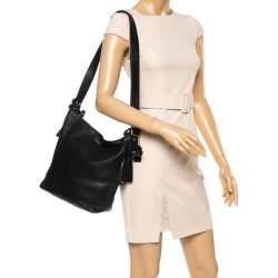 حقيبة هوبو كوتش شراشيب لغسي جلد سوداء